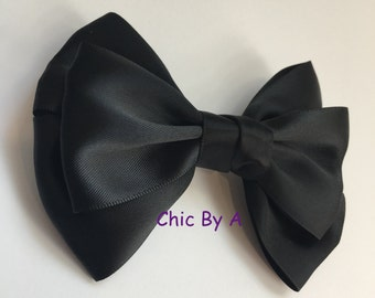 "Hair Bow,Satin Hair Bow,Black Hair Bow,Large Hair Bow,Large Satin Hair Bow,Christmas,4.5"" Satin,Solid Boutique Layers Satin Ribbon,Satin Bow"