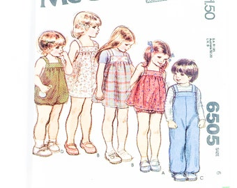 70s Childs Overalls Pattern | McCalls 6505 Childs Sundress & Jumper Pattern | 70s Sewing Pattern