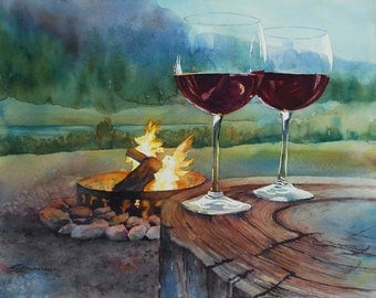 Toasting the great outdoors with wine by a campfire in the mountains watercolor landscape print