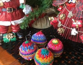 Set of 4 crocheted christmas tree ornaments