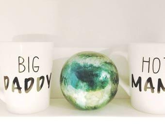 Funny Hot Mama/Big Daddy ceramic coffee mugs . Good gift idea for the humorous parental heart
