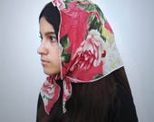 Petite Chiffon Vintage Rose Scarf Style Chapel Veil Easy to Wear