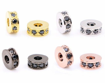 10pcs Micro Pave space Bead-Pave Beads-CZ Bead-Cubic Zirconia Spacer Beads-Men Bracelet Charms-Slider Beads with Jet Crystal-8x2.5-WX0204
