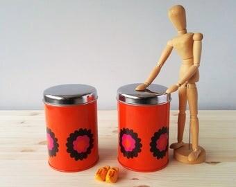 Brabantia Orange Tin Can with Floral Design Patrice Series 1970s