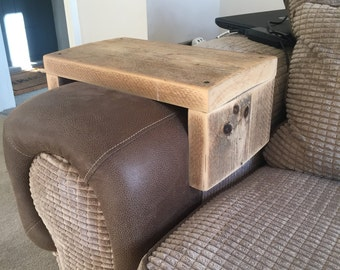Handleggr - Handmade Industrial Chic Reclaimed Wood Sofa, Chair Arm Rest, Cup rest, Plate platform Table Custom Made To Order.