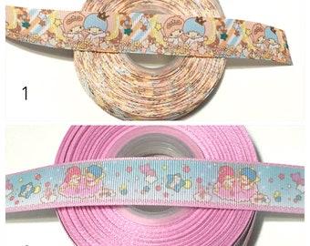 Little Twins Star Ribbon by the Yard, Little Twin Star Grosgrain Ribbon, Sanrio Twin Stars Ribbon for bows, My Melody Ribbon, Cartoon Ribbon