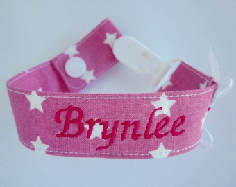 Baby girl pacifier holder, baby girl pacifier clip - personalized name