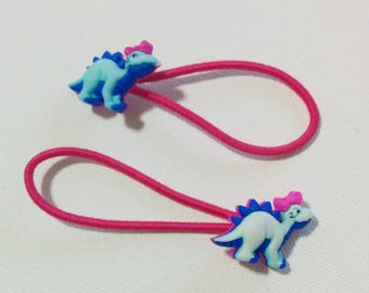 spiky dino dinosaur hair ties ponytail elastics *set of 2*