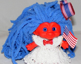 "4"" Dyed Red Troll Doll, New Eyes, Chenille Hair, Clothes, Patriotic, USA, Flag"