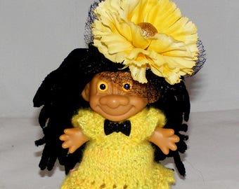 "4.25"" Russ Troll Doll, Black Hair, Yellow Fuzzy Verigated Dress, Panties, Hat"