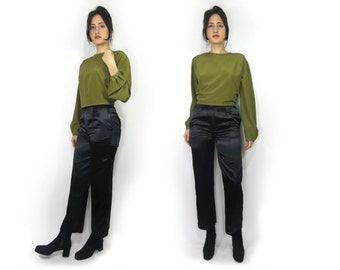 Black Satin High Waisted Trouser Pant 27 / 28