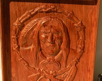American indian carving 9 X 12 on exotic hardwood.