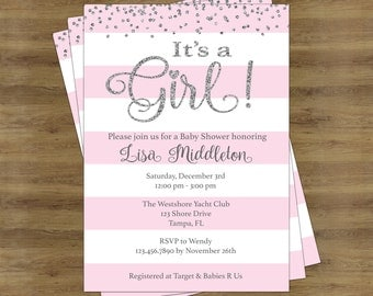 Its a Girl Baby Shower Invitation Girl; Baby Shower Invitation for a Girl; Pink and Silver Baby Shower Invites; Silver and Pink Invitations