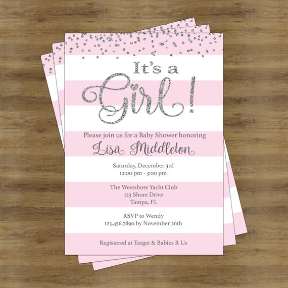 Eloquent image inside printable girl baby shower invitations