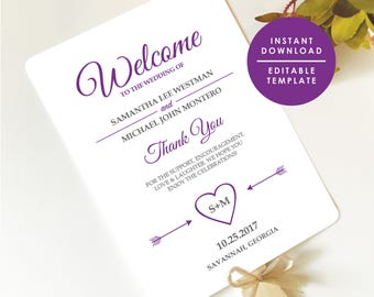Purple Wedding Program Template, Printable Wedding Programs Instant Download, Editable Template, Double-Sided Program #GD_WP124