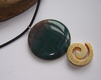 Choker - with 925 Silver snail + agate Taler