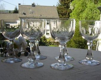 6 antique Biedermeier liqueur glasses dessert faceted antique glass - olive grinding
