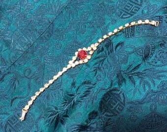 Red Czech Rhinestone Bracelet 60s