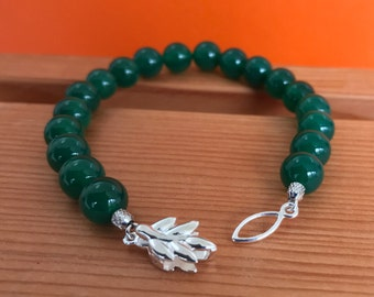 Green Agate Bracelet -Agate Bracelet -Leaf Bracelet -Beaded Bracelet -Green Bracelet -Gift for Her -Silver Jewellery -Handmade -UK Shop