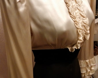 Clean, Vintage, 1930's, Ivory, Satin, Pleated, Ruffle, Long Sleeved, Blouse, Top, Velveteen, Black Waistband