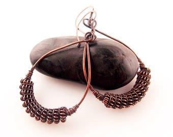 copper earrings-wire wrapped earrings-wire weave jewelry-handmade jewelry-hammered earrings-Melissa Wood Jewelry-wire wrapped jewelry