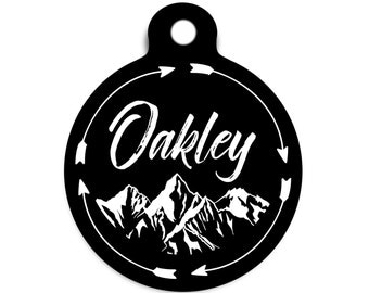 Arrow and Mountain Pet Id Tag, Explorer Dog Tag for Dogs, Trendy Outdoor Pet Tag, Outdoor Cat Tag, Rustic Collar Tag for Dogs, Arrow Dog Tag