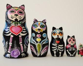 Russian Matryoshka Babushka, Wooden nesting dolls, Skull, Mexican, Mexican Day of Dead  Cats, handmade
