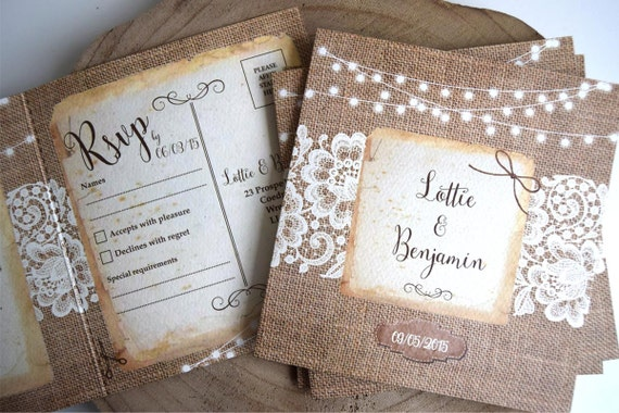 Rustic Burlap & Lace Wedding Invitation Sample