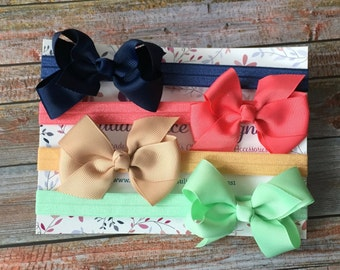 4 Bow Headbands/Bow Headband Set/Baby Headband Set/Baby Headbands/Baby Shower Gift/Bows/Newborn Headbands/Baby Girl Headbands/Bow Headband