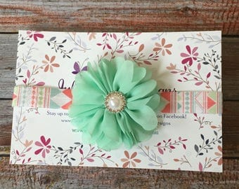 Easter Headband/Baby Headband/Newborn Headband/Flower Headband/Infant Headband/Mint Green Headband/Aqua Headband/Mint Headband/Baby Girl