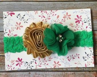 St Patricks Day Headband/Green & Gold Headband/Flower headband/Irish Headband/Green Headband/St Pattys Day Headband/Green and Gold Baby Bow