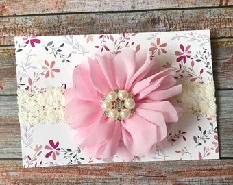 Pink and Ivory Headband/Baby Headband/Pink Baby Headband/Infant Headband/Newborn Headband/Baby Girl Headband/Pink and Ivory/Flower Headband