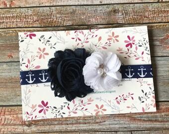Baby Headband/Newborn Headband/Nautical Headband/Navy Blue & White Headband/Navy Blue Headband/Toddler Headband/Infant Headband/Headband