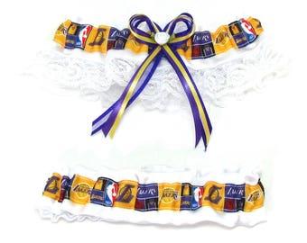 Garter Set Los Angeles Lakers Keepsake and Tosser Themed Sports Wedding Basketball Garter