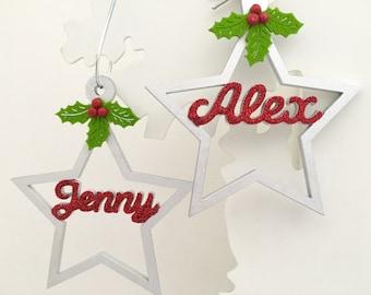 Personalised Christmas star, Personalised Christmas decoration, Personalised tree ornament, Christmas name decoration, Christmas star