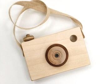 Natural Wooden Toy Camera, Kids Toy Camera, Nursery Decor, Montessori Camera, Handmade Camera, Wooden Baby Camera