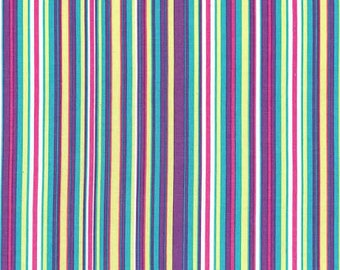 """Last Fat Quarter, Play Stripe in Orchid by Michael Miller- Colorful stripe fabric - Zoology Collection 18""""x22""""."""