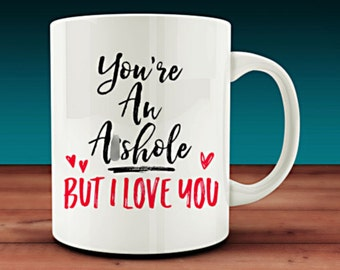 You're An A**hole But I Love You Mug, funny mug (W1)