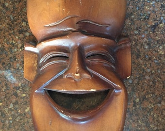 Wooden Wall Mask Smiling Face