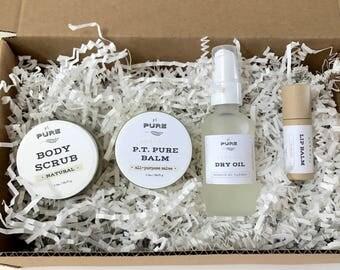 Basic Starter Gift Set : Pure Balm + Body Scrub + Dry Oil + Lip Balm / organic / natural skin care / chemical free / non toxic
