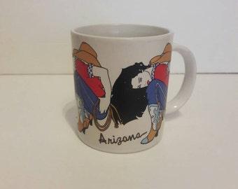 Vintage NAGLE 90s Cowgirl Coffee Mug Arizona