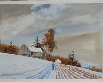 Rustic barn painting, Winter landscape watercolor, signed painting, original artwork, #136