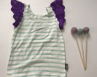 00- Flutter Sleeve Singlet- Green Stripe/Purple