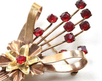 Vintage 1930s Harry Iskin Brooch with Red Rhinestones