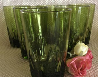 Vintage 6 Retro green high ball tumblers 10 oz bar glasses