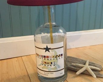 OYSTERVILLE VODKA LAMP repurposed from local Cape Cod Vodka Bottle