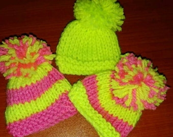 Neon Innocent Smoothie Hats. Egg Cosies. Barbie Hats.