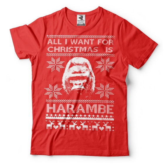 Harambe T-Shirt Funny Ugly Christmas Sweater T-Shirt Harambe
