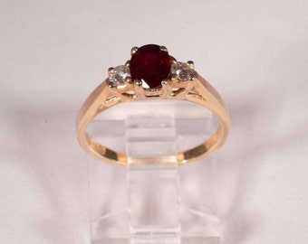 14K Yellow Gold app. 1ct. tw. Ruby and Diamond Ring, size 6.25
