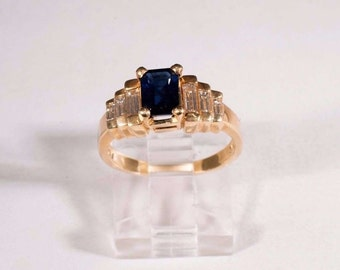 14K Yellow Gold Sapphire and Diamond Ring, size 6.5